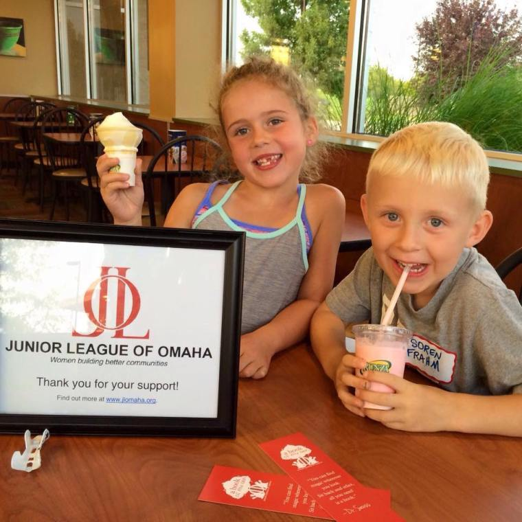 Blake (daughter of League President-Elect, Chaley Chandler) and Soren (son of League member Lexie Fraham enjoyed their frozen treats from Runza. A portion of sales from the day supported the League's community project.